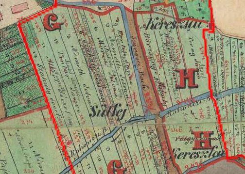 A séi Sütfej az 1857-es kataszteri térképen. A Sütfej nem elírás